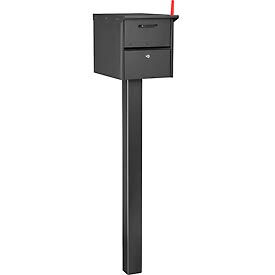 "Global Residential Mailbox Front/Rear Access 12-1/2"" x 13-5/8"" x 18-1/4"" with 48""H In-Ground Post"