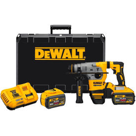 "DeWALT DCH293X2 20V MAX 1"" Cordless SDS-plus Brushless L-Shape Concrete/Masonry Rotary Hammer Kit 9A"