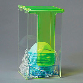 Global Acrylic Safety PPE Dispenser, Dust Mask Dispenser With Cover, GLADM1