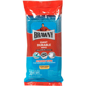 Brawny® Giant Durable Disinfecting Wipes, Citrus Scent, 30 Wipes/Pack, 10 Packs/Case