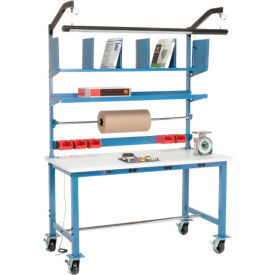 Mobile Electronic Packing Workbench ESD Square Edge - 60 x 30 with Riser Kit