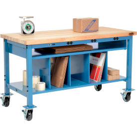 Mobile Electric Packing Workbench Maple Butcher Block Square Edge - 72 x 30 with Lower Shelf Kit