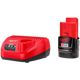 Milwaukee® 48-59-2420 M12 12-Volt Lithium-Ion Compact Battery Pack 2.0Ah & Charger Starter Kit