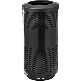 Global Industrial™ 20 Gallon Perforated Steel Receptacle w/ Flat Lid - Black