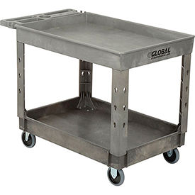 "Industrial Strength Plastic 2 Tray Shelf Service & Utility Cart, 44"" x 25-1/2"", 5"" Rubber Casters"