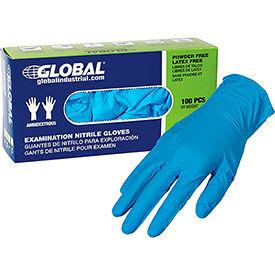 Global Industrial™ Nitrile Gloves, Exam Grade, Powder Free, Blue, 4 MIL, 100/Box, Large