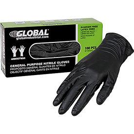 Global Industrial™ Nitrile Gloves, Industrial Grade, Powder Free, Black, 6 MIL,100/Box, Medium