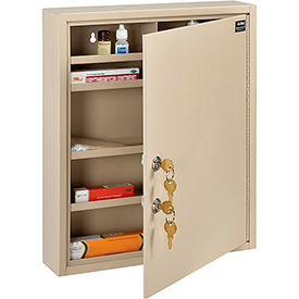 """Global™ Medical Security Cabinet with Double Key Locks, 14""""W x 3-1/8""""D x 17-1/8""""H, Beige"""