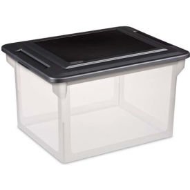 "Sterilite File Storage Box 18689004 - Black Lid Clear Tote 18-1/2""L x 14""W x 12""H - Pkg Qty 4"