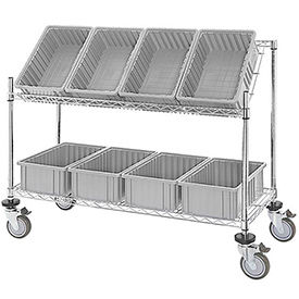 """Easy Access Slant Shelf Chrome Wire Cart with 8 Gray Grid Containers 48""""L x 18""""W x 48""""H"""