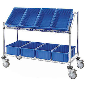 "Easy Access Slant Shelf Chrome Wire Cart with 8 Blue Grid Containers 48""L x 18""W x 48""H"