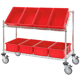 """Easy Access Slant Shelf Chrome Wire Cart with 8 Red Grid Containers 48""""L x 18""""W x 48""""H"""