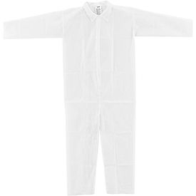 Disposable Polypropylene Coverall, Open Wrists/Ankles, White, 3X-Large, 25/Case
