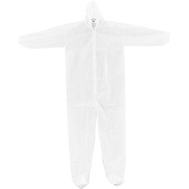 Disposable Polypropylene Coverall, Elastic Wrists/Ankles, Hood & Boots, White, 3X-Large, 25/Case