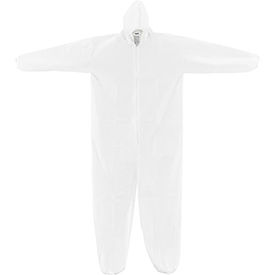 Disposable Microporous Coverall, Elastic Wrists/Ankles & Hood, White, 3X-Large, 25/Case