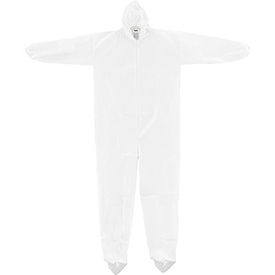 Disposable Microporous Coverall, Elastic Wrists/Ankles, Hood & Boots, White, 3X-Large, 25/Case