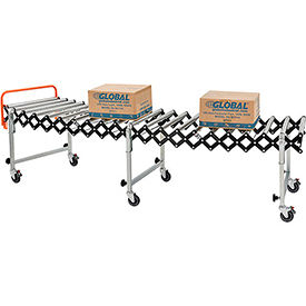 "Portable Flexible & Expandable 2'8"" to 8'6"" Conveyor - Steel Rollers - 24""W"
