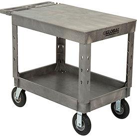 "Industrial Strength Plastic 2 Flat Shelf Service & Utility Cart, 44"" x 25-1/2"", 8"" Pneumatic Wheels"