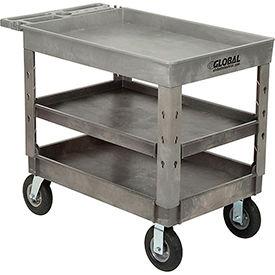 "Industrial Strength Plastic 3 Tray Shelf Service & Utility Cart, 44"" x 25-1/2"", 8"" Pneumatic wheels"