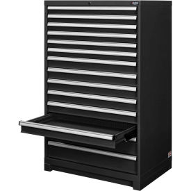 "Global™ Modular Drawer Cabinet, 14 Drawers, w/Lock, w/o Dividers, 36""Wx24""Dx57""H Black"