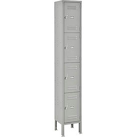 Global Lockers Four Tier 12 x 18 x 18 4 Door Assembled Gray