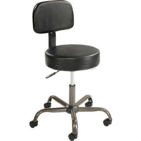 Interion® Antimicrobial Vinyl Medical Stool with Backrest, Black