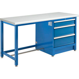 """72""""W x 30""""D Modular Workbench with 3 Drawers - ESD Laminate Safety Edge - Blue"""