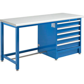 """72""""W x 30""""D Modular Workbench with 5 Drawers - ESD Laminate Safety Edge - Blue"""