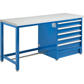 """72""""W x 30""""D Modular Workbench with 5 Drawers - ESD Laminate Square Edge - Blue"""