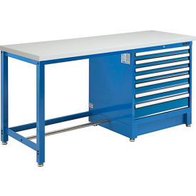 "72""W x 30""D Modular Workbench with 7 Drawers - ESD Laminate Square Edge - Blue"