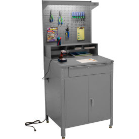"""Shop Desk w Lower Cabinet and Pigeonhole Compartment with Pegboard Riser 34-1/2""""W x 30""""D x 80""""H - GY"""