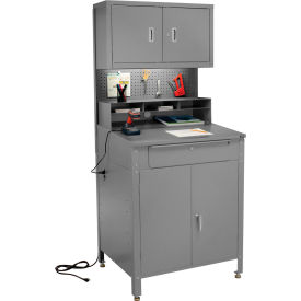 """Shop Desk w Lower Cabinet and Pigeonhole Compartments w Upper Cabinet 34-1/2""""W x 30""""D x 80""""H - GY"""