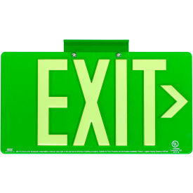 Dual-Lite DPLP100SG DPL Exit Sign, Green Thermoplastic w/ Photoluminescent Letters, Single Face