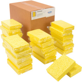 "Global Industrial™ Cellulose Sponge, Yellow, 4.25"" x 6.25"" - Case of 24 Sponges"