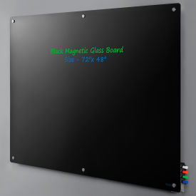 "Magnetic Glass Dry Erase Board - 72 x 48"" - Black"