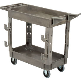 Plastic Service Cart with Ladder Holder and Utility Hooks.