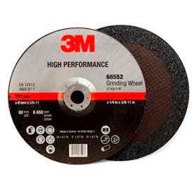 "3M™ HP. Depressed Center Grinding Wheel QC. 66552 9""x 1/4""x 5/8-11"" T27 Alum. Oxide 24 Grit"