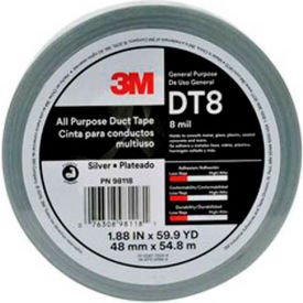 """3M™ All Purpose Duct Tape DT8 Silver, 1-7/8"""" x 180', 8 Mil - Pkg Qty 24"""