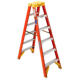 Werner® 300 LB. Capacity Per Side Dual Access Fiberglass Step Ladder