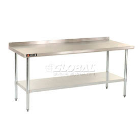 "Stainless Steel 18 Gauge Work Benches With 2-1/4"" Backsplash"