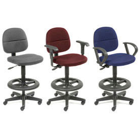 Interion™ - Comfort Stool With 360 Degree Plastic Footrest