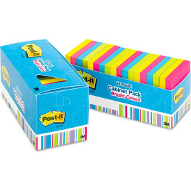 "Post-it® Notes Cabinet Pk 65418BRCP, 3"" x 3"", Bright, 100 Sheets, 18/Pack"