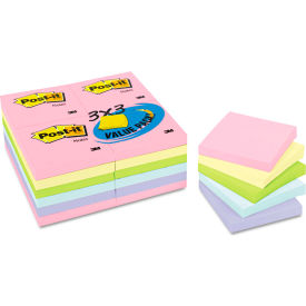 "Post-it® Notes Pastel Notes Value Pk 65424APVAD, 3"" x 3"", Pastel, 100 Sheets, 24/Pack"