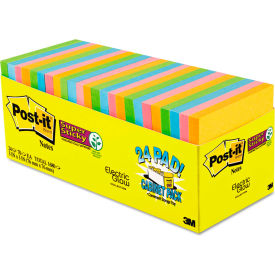 "Post-it® Super Sticky Note Pads 65424SSANCP, 3"" x 3"", Electric Glow, 70 Sheets, 24/Pack"