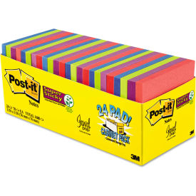 """Post-it® Super Sticky Notes Cabinet Pk 65424SSAUCP, 3"""" x 3"""", Jewel Pop, 70 Sheets, 24/Pack"""