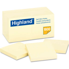 "Highland™Self-Stick Notes 654918PK, 3"" x 3"", Yellow, 100 Sheets, 18/Pack"