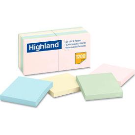 "Highland™Sticky Note Pads 6549A, 3"" x 3"", Pastel, 100 Sheets, 12/Pack"
