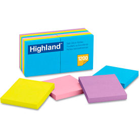 "Highland™Sticky Note Pads 6549B, 3"" x 3"", Bright, 100 Sheets, 12/Pack"