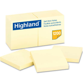 """Highland™Self-Stick Pads 6549YW, 3"""" x 3"""", Yellow, 100 Sheets, 12/Pack"""