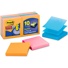 """Post-it® Pop-up Notes Super Sticky Pop-Up Notes R33010SSAN, 3"""" x 3"""", Glow, 90 Sheets, 10/Pack"""